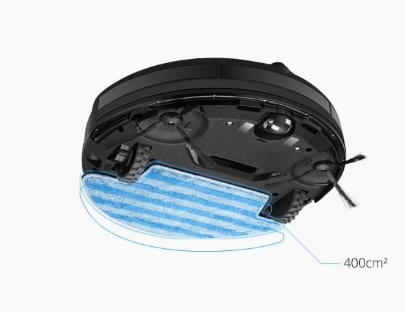 Контейнер за вода с автоматично регулиране на водоподаването, както и финна попиваща микрофибърна кърпа за подобрена ефективност на миенето.